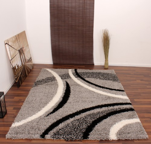 Shaggy Rug - Patterned - Black Silver Cream