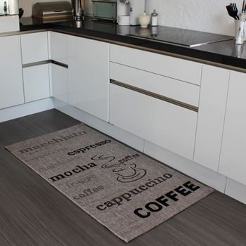 Teppich Sisal Optik in Grau mit Schriftzug espresso, cappuccino, coffee Neu*OVP – Bild 4