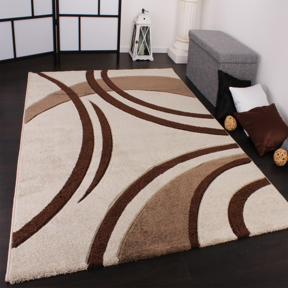Modern Velour Rug Cream and Brown
