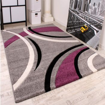 Modern Velour Rug in Grey