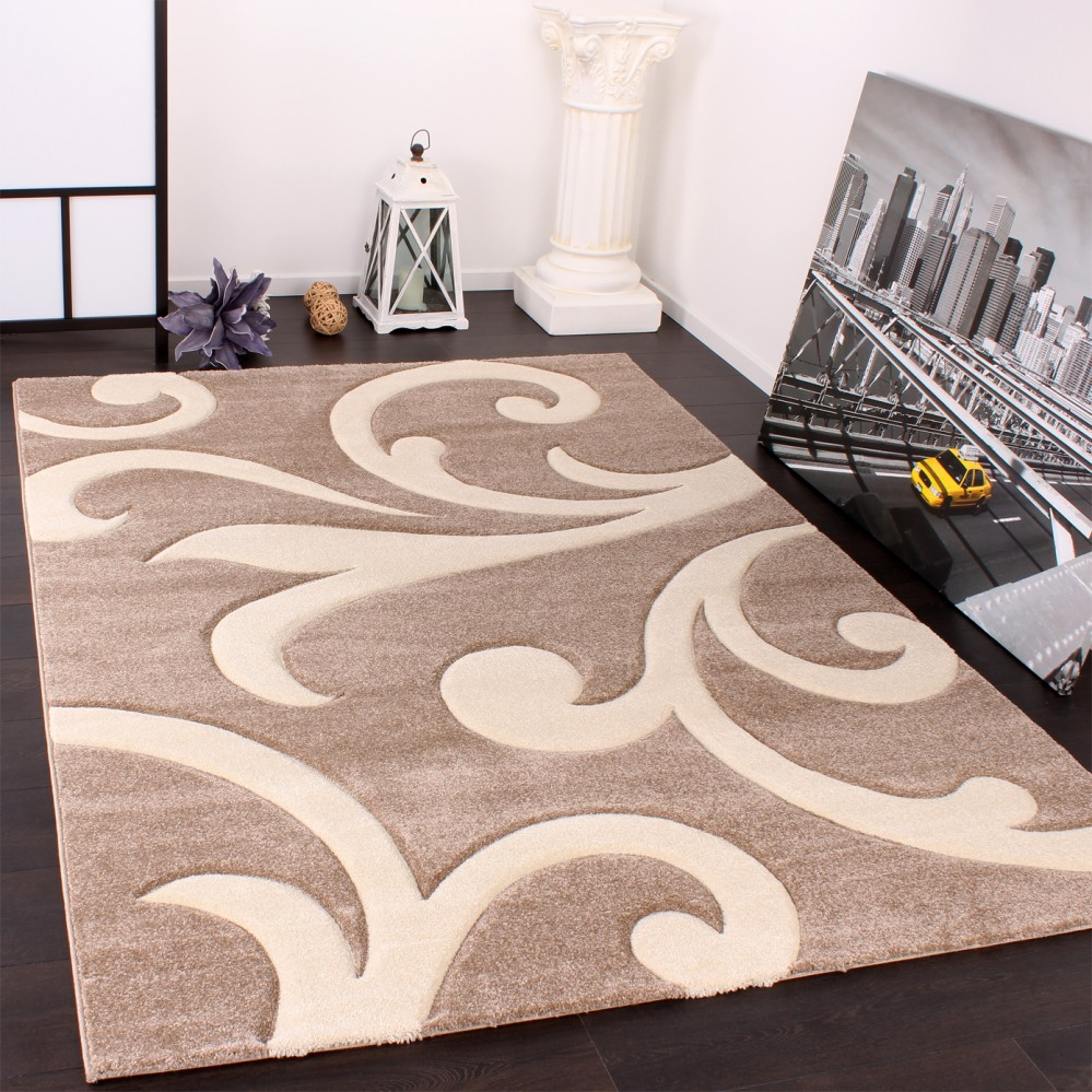 tapis de cr ateur aux contours d coup s moderne en beige cr me tapis tapis poil ras. Black Bedroom Furniture Sets. Home Design Ideas