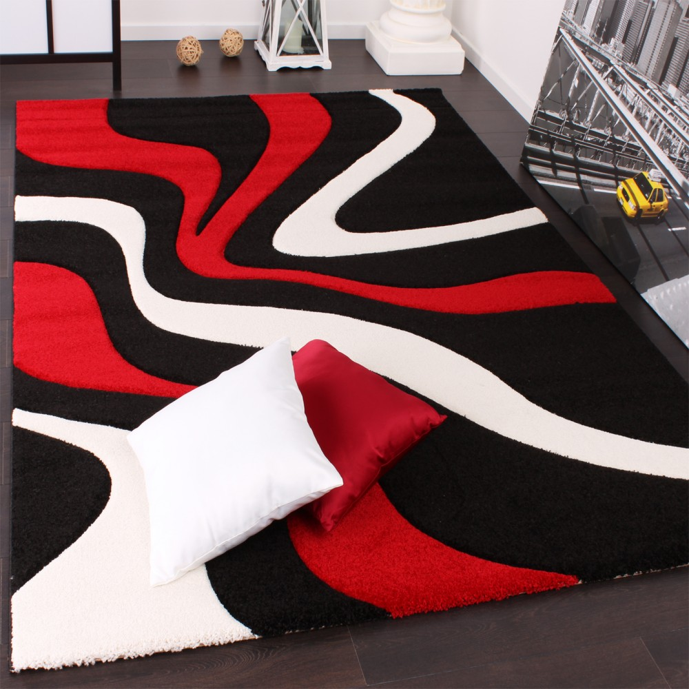 Designer Carpet With Contour Cut And A Wave Pattern In Red Black And White