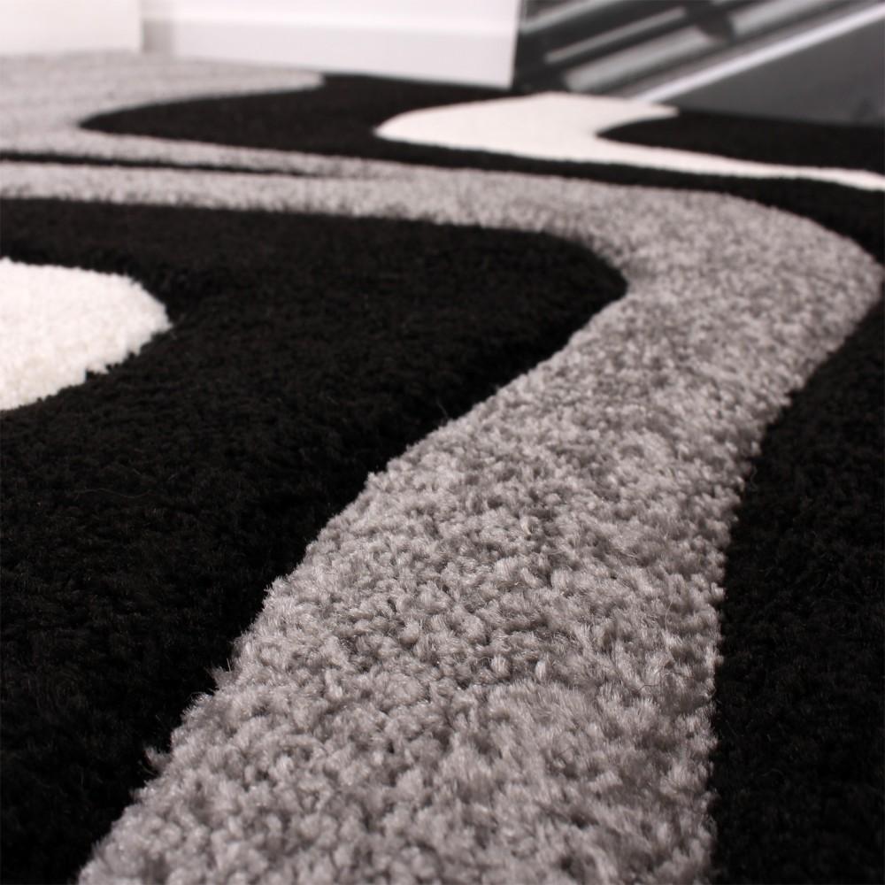 Designer Teppich Mit Konturenschnitt Wellen Muster Schwarz Grau