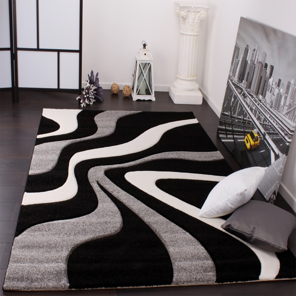 Designer Carpet With Contour Cut And A Wave Pattern In Black Grey And White