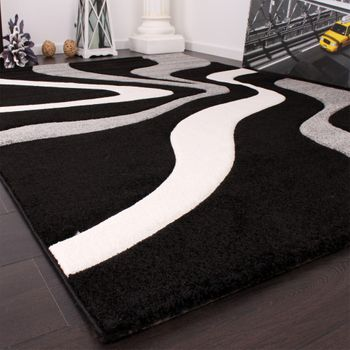 Designer Teppich mit Konturenschnitt Wellen Muster Schwarz Grau Weiss – Bild 4