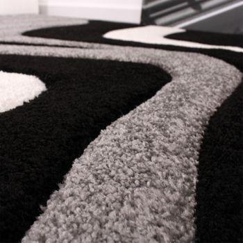 Designer Teppich mit Konturenschnitt Wellen Muster Schwarz Grau Weiss – Bild 2