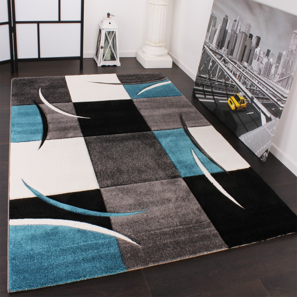 Designer Carpet With Modern Contour Cuts With A Chequered Pattern In Turquoise And Grey