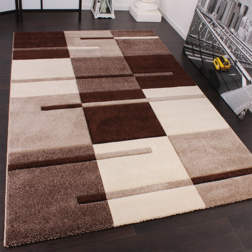 tapis de cr ateur avec contours d coup s motif carreaux en beige marron tapis tapis poil ras. Black Bedroom Furniture Sets. Home Design Ideas
