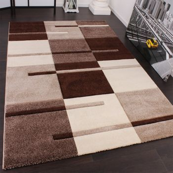 Designer Carpet Contour Cuts With A Chequered Pattern Beige