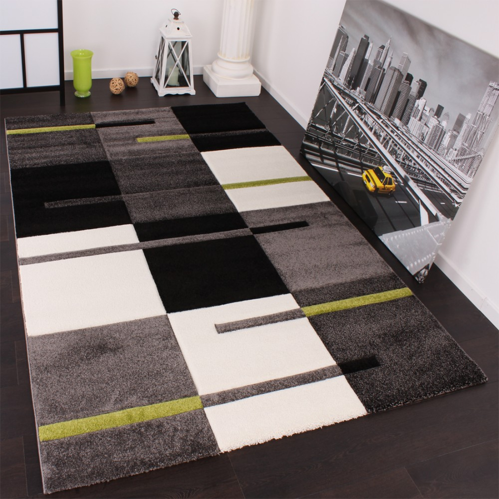 designer teppich mit konturenschnitt karo muster gr n grau schwarz ebay. Black Bedroom Furniture Sets. Home Design Ideas