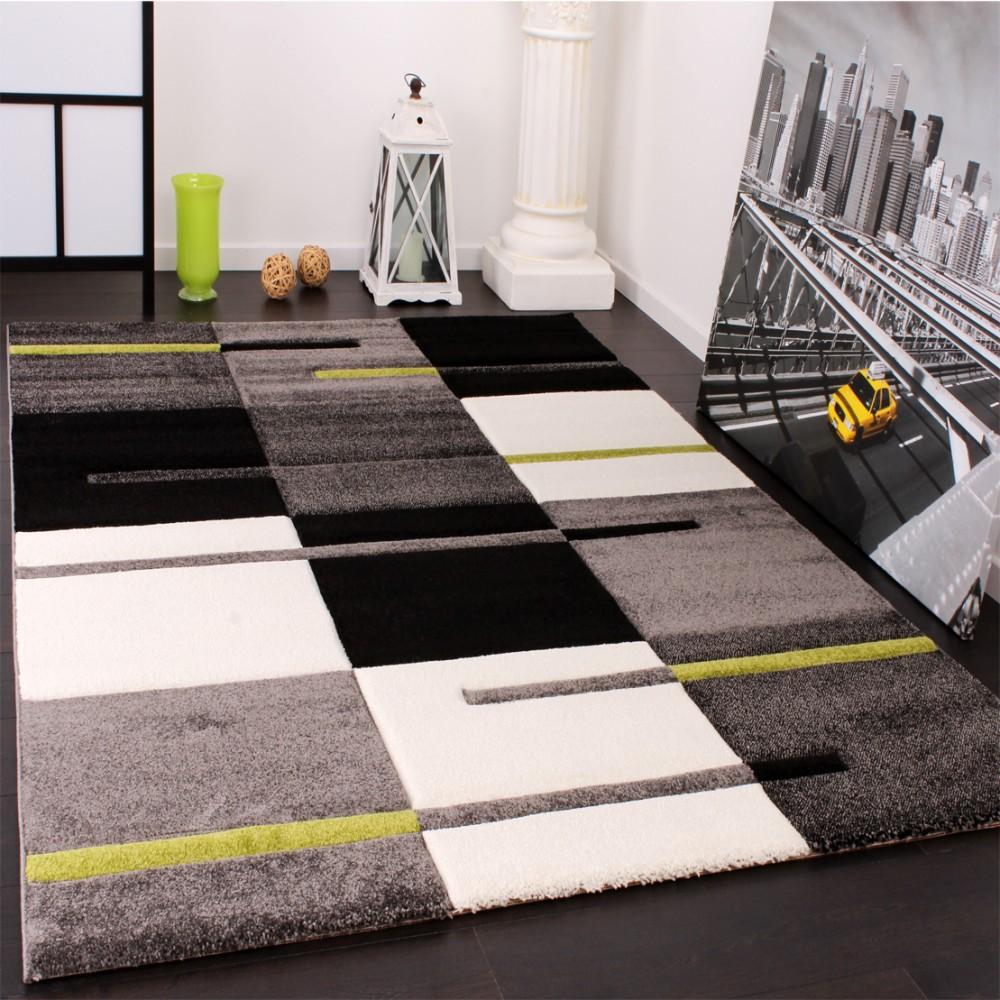 Schön Designer Teppich Mit Konturenschnitt Karo Muster Grün Grau Schwarz U2013 Bild 2