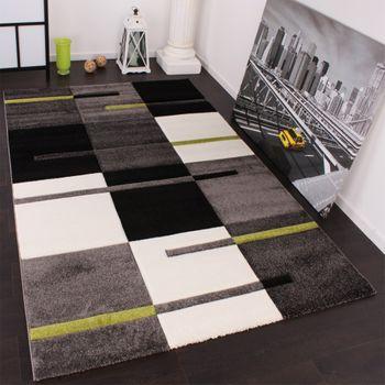 Designtapijt met contoursnit ruitpatroon groen grijs zwart