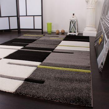 Designer Teppich mit Konturenschnitt Karo Muster Grün Grau Schwarz – Bild 3