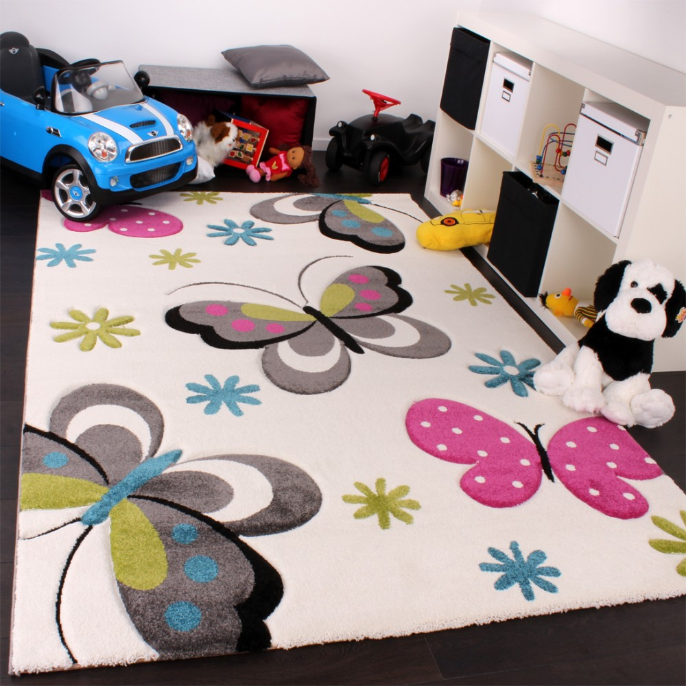 Kids Carpet Butterfly Design In Pink Green Blue Grey And Cream