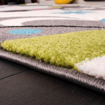 Kinder Teppich Schmetterling Design Pink Grün Blau Grau Creme – Bild 4