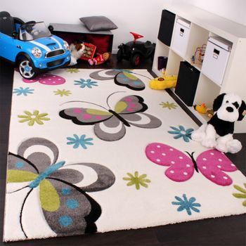Kinder Teppich Schmetterling Design Pink Grün Blau Grau Creme – Bild 1