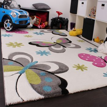 Kids Carpet Butterfly Design In Pink Green Blue Grey And Cream – Bild 2