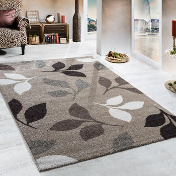 Heavy woven rug / modern rug / floral design, beige, brown