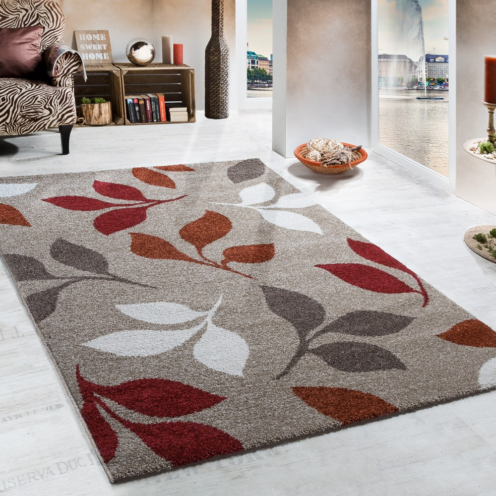 Heavy Woven Rug Floral Design In Beige Terracotta Red Tones Top Quality