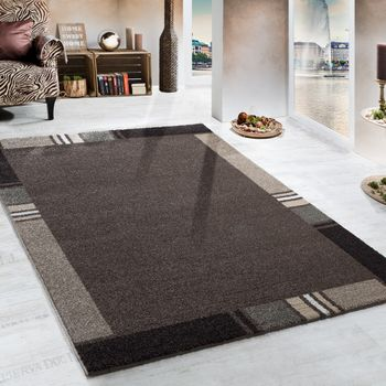 Heavy Woven Rug Modern Carpet With Border Design In Brown Beige – Bild 1