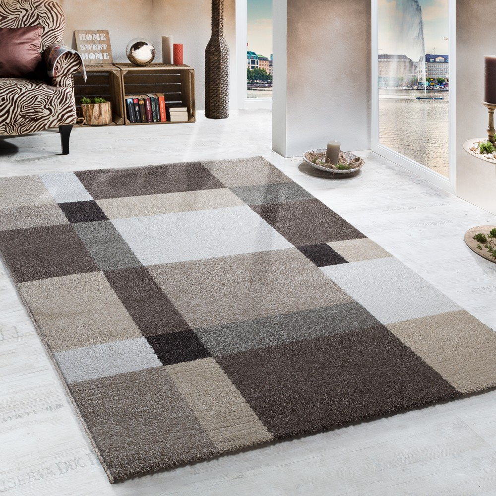 Heavy Woven Rug Modern Carpet Design In Beige Brown Cream Top Quality