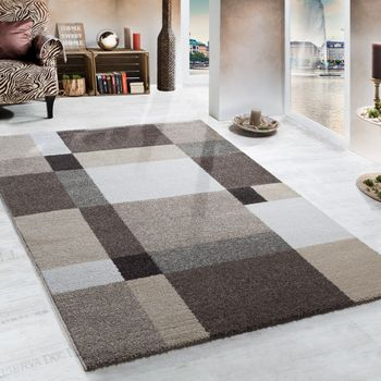 Heavy Woven Rug Modern Carpet Design In Beige Brown Cream Top Quality – Bild 1