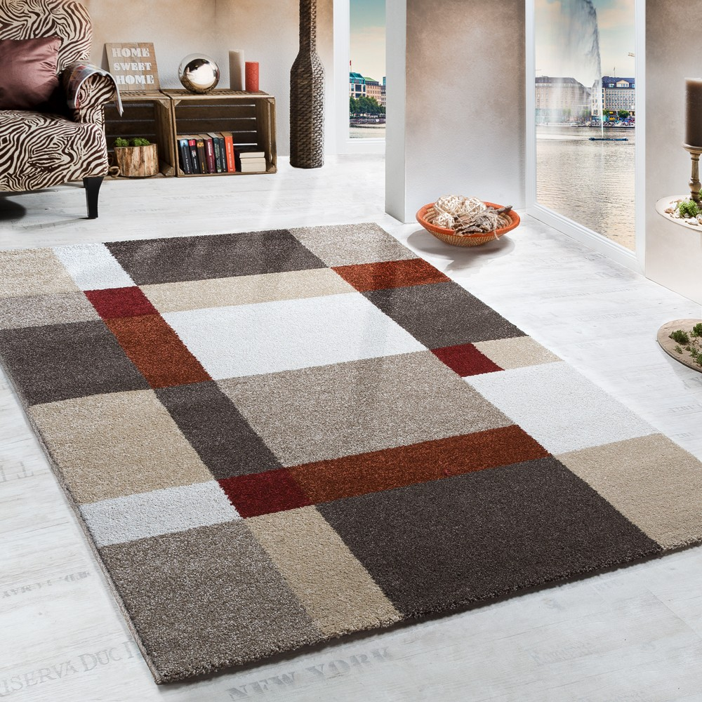 Heavy Woven Rug Chequered Pattern Modern Carpet Beige Terracotta Top Quality