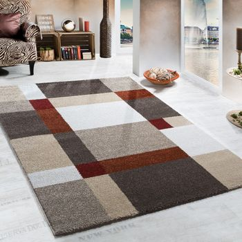 Heavy Woven Rug Chequered Pattern Modern Carpet Beige Terracotta Top Quality – Bild 1