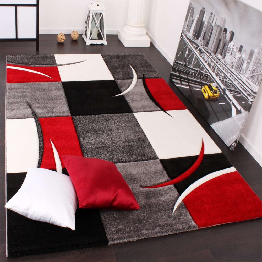 Designer Carpet With Contour Cut Chequered In Red And Black