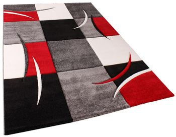 Designer Carpet With Contour Cut Chequered In Red And Black – Bild 5