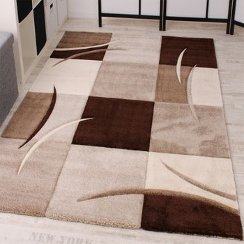 Designer Carpet Contour Cut Chequered Brown