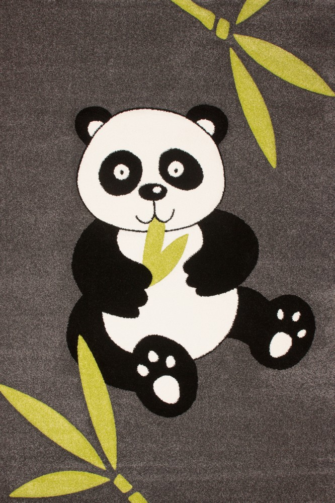 Kids' Rug - Contemporary - Panda - Grey Black