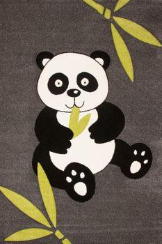Moderner Kinderteppich Panda Bär Grau Schwarz – Bild 1