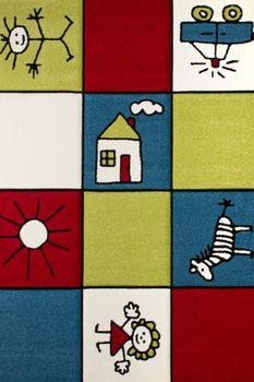 Moderner Kinderteppich Multicolour Rot Blau Grün – Bild 1