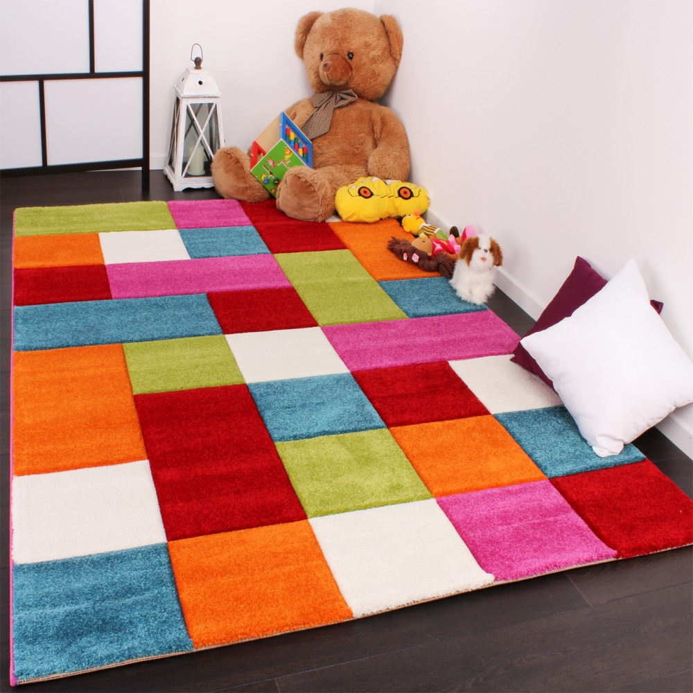 Kids Carpet Multi-Colour Chequered Green Red Grey Black Cream And Pink