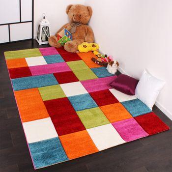 Kinder Teppich Karo Design Multicolour Grün Rot Grau Schwarz Creme Pink – Bild 4