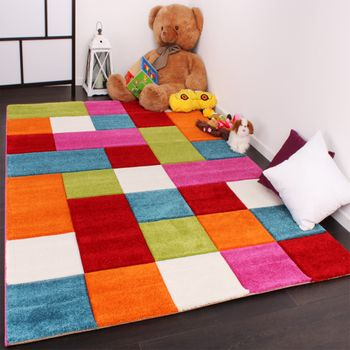 Kids Carpet Multi-Colour Chequered Green Red Grey Black Cream And Pink – Bild 1