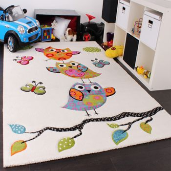 Kinder Teppich Niedliche Eulen Creme Blau Orange Grün – Bild 1