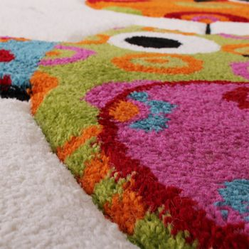 Kids Carpet Cute Owls In Cream Blue Orange And Green – Bild 3