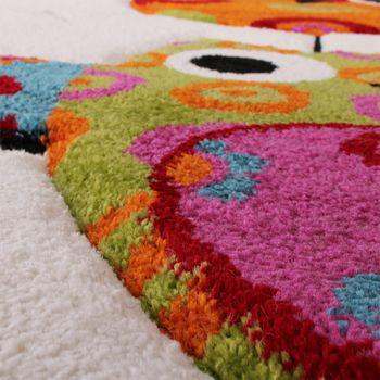 Kinder Teppich Niedliche Eulen Creme Blau Orange Grün – Bild 3