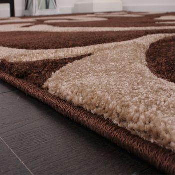 Designer Teppich Festival mit Konturenschnitt Muster Braun Beige Brown Creme – Bild 3