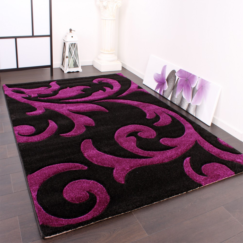 Designer Festival Rug with Contour-Cut Pattern Purple Black and Violet