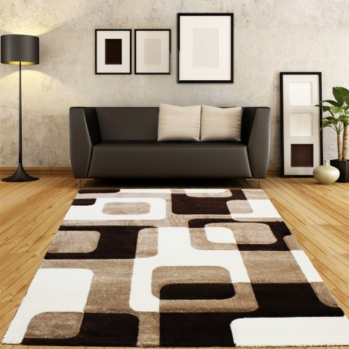 Designer Rug - Festival - Contour Cut - Pattern - Cream Brown Beige