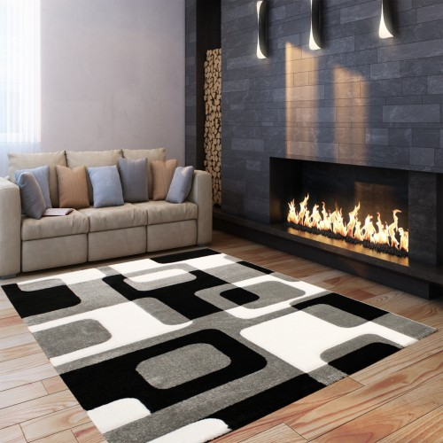 Designer Festival Rug with Retro Contour-Cut Pattern Grey Black and White