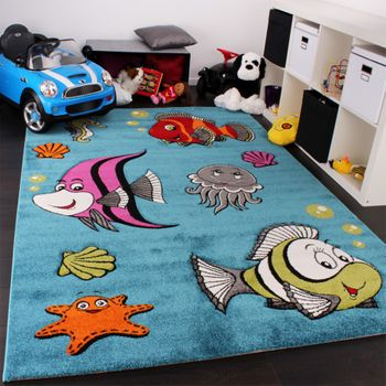 Kids Carpet Clown Fish Aqua Underwater World in Turquoise Blue Green Cream Pink – Bild 1