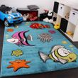 Kids' carpet clown fish underwater world turquoise 001