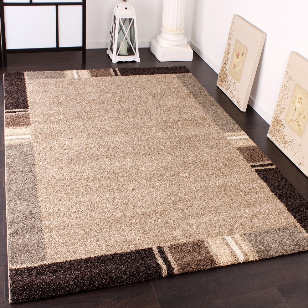 Heavy Woven Rug Modern Carpet With Border Design In Beige Brown Tones Top Quality