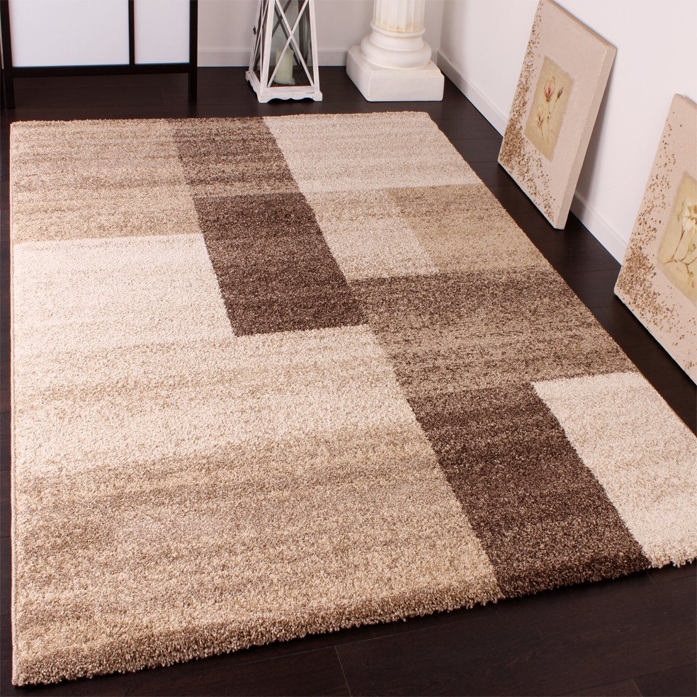 Heavy Woven Designer Carpet Modern Rug In Beige Brown Cream Top Quality