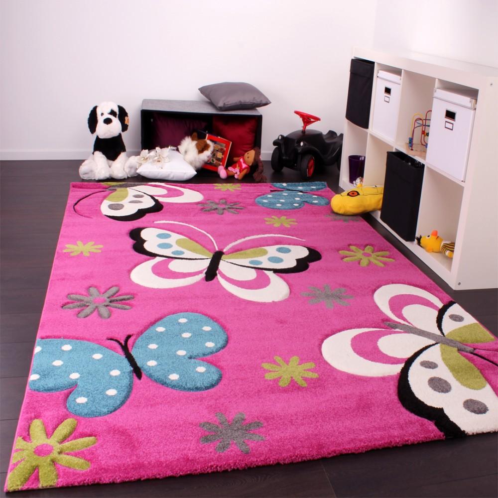 tappeto bambini motivo farfalla rosa tapetto24. Black Bedroom Furniture Sets. Home Design Ideas