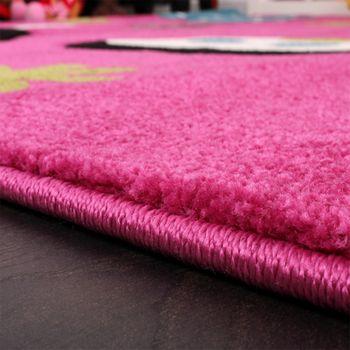 Kinder Teppich Schmetterling Design Grün Grau Schwarz Creme Pink – Bild 4